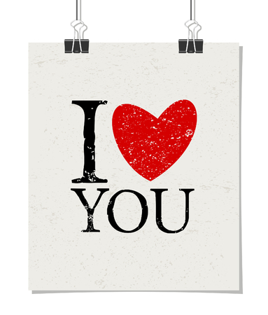 Minimalist style poster for Valentines Day with message I Love You. Poster design mock-up with paper clips, isolated on white. Vector