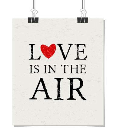 Minimalist poster design with paper clips. Vintage style poster mock-up. Love Is in the Air. Vector