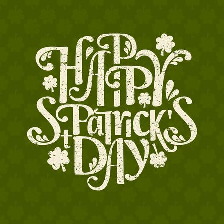 聖 Patrick 日の手描きのタイポグラフィ デザイン テンプレートです。背景は、また、シームレスなパターンです。
