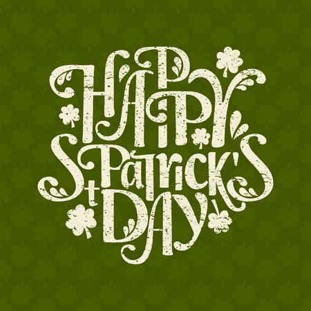 Hand-drawn typographic design template for St. Patricks Day. The background is also a seamless pattern.