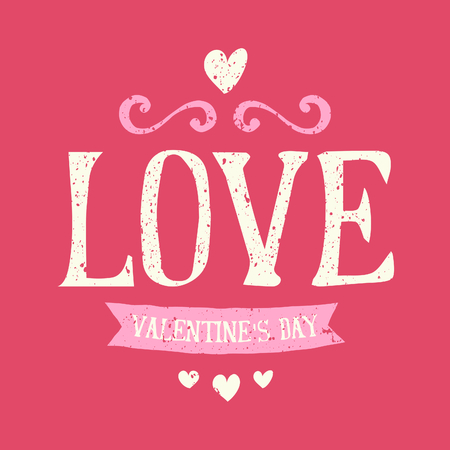 Vintage typographic design greeting card for Valentines Day. Vector