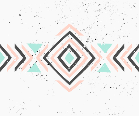 pastel colors: Abstract geometric design in pastel colors. Ethnic decorative art in pink, blue and gray. Indian style pattern.
