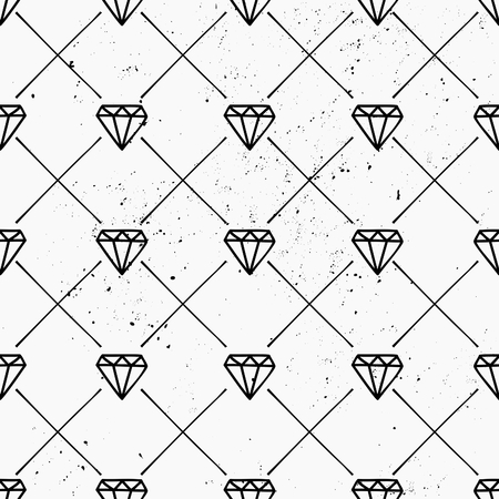 Hand drawn style seamless pattern with diamond shapes and lines. Vintage abstract repeat pattern in black and white. Vector