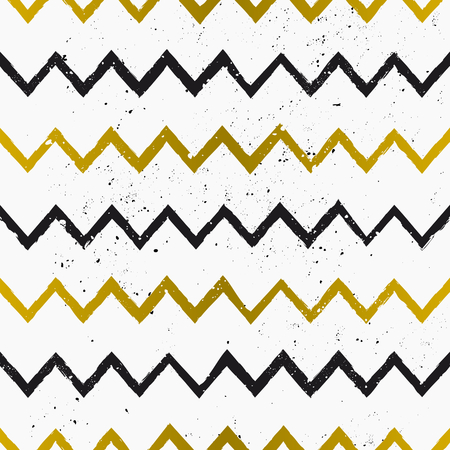 Hand drawn style chevron seamless pattern. Vintage zig zag repeat pattern in black and golden on white.