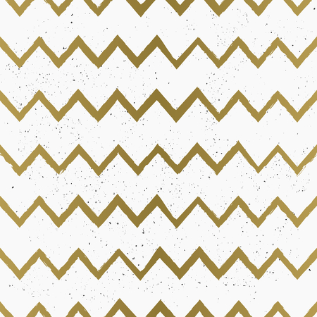 Hand drawn style chevron seamless pattern. Vintage zig zag repeat pattern in golden and white. Vector