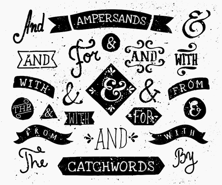 types: A set of retro style catchwords and ampersands. Hand drawn words and, for, from, with, the, by. Decorative elements and embellishments. Illustration