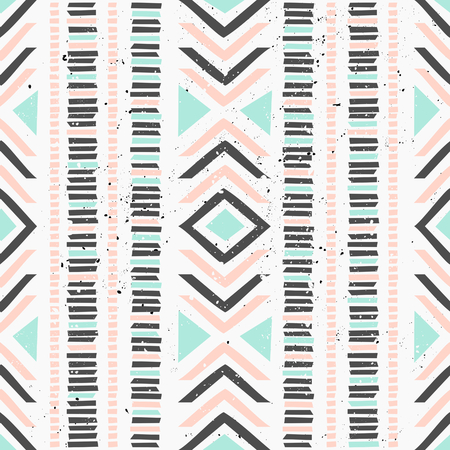 Abstract geometric seamless pattern in pastel colors. Ethnic decorative art in pink, blue and gray. Indian style repeat pattern. Vector