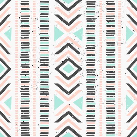 colores pastel: Modelo incons�til geom�trico abstracto en tonos pastel. Arte decorativo �tnica en rosa, azul y gris. Repetici�n del patr�n de estilo indio.