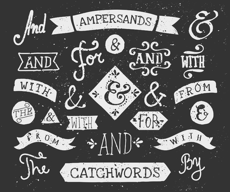 text: A set of chalkboard style catchwords and ampersands. Hand drawn words and, for, from, with, the, by. Decorative design elements and embellishments. Illustration