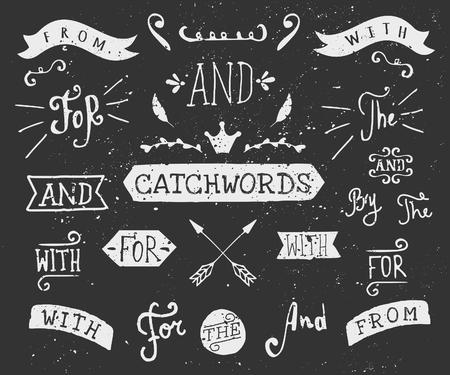 """Un conjunto de tópicos de estilo pizarra y elementos de diseño. Dibujado a mano palabras """"y"""", """"para"""", """"de"""", """"con"""", """"la"""", """"por"""". Elementos y adornos decorativos."""