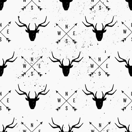 Deer head and arrows seamless pattern in black and white.