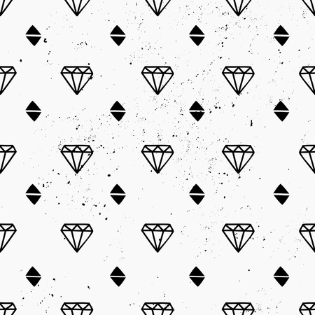Hand drawn style seamless pattern with diamond shapes. Vintage abstract repeat pattern in black and white. Vector
