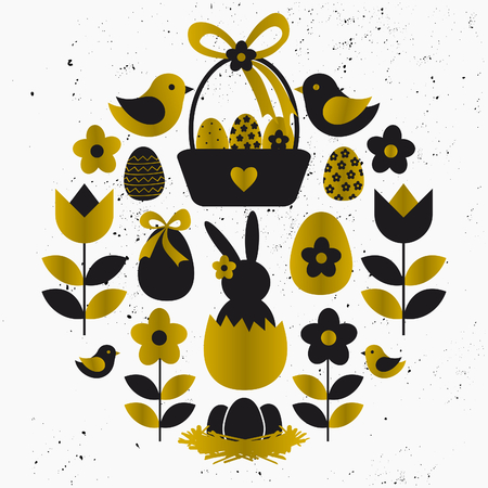 Easter design elements in black and golden on white. Stylized flowers, eggs, birds and other cute Easter graphics. Vector