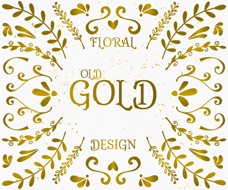 A set of vintage style floral design elements in golden and white. Hand drawn decorative elements and embellishments. Borders, laurels, swirls, wreaths and other floral style graphics. Vector