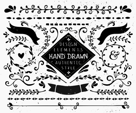 draw: A set of vintage style design elements in black and white. Hand drawn decorative elements and embellishments. Borders, ribbons, swirls, labels and other retro style graphics.