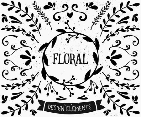 tipos: Un conjunto de estilo vintage elementos de diseño floral en blanco y negro. Dibujado a mano elementos decorativos y adornos. Borders, laureles, remolinos, coronas y otros gráficos de estilo retro.
