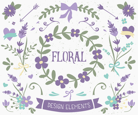 A set of vintage style floral design elements in violet and green. Hand drawn decorative elements and embellishments. Borders, laurels, swirls, wreaths and other floral graphics.