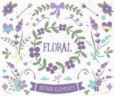 Un ensemble de floraux des éléments de conception de style vintage en violet et vert. Tiré par la main des éléments décoratifs et des ornements. Frontières, des lauriers, des tourbillons, des couronnes et autres graphiques floraux. Illustration