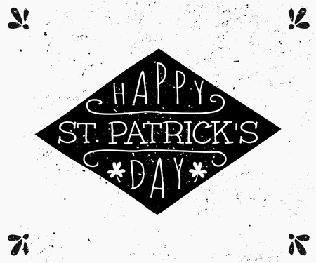 Hand drawn style greeting card for St. Patricks Day in black and white. Vector