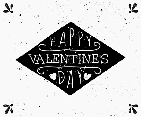 Hand drawn style greeting card for St. Valentines Day in black and white. Vector