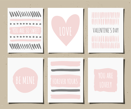 A set of hand drawn style greeting cards in blush pink, gray and white. Valentines Day greeting card templates. Vector
