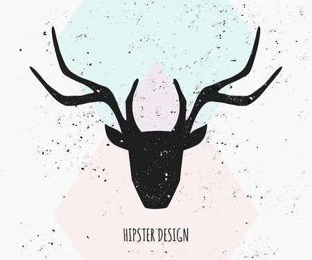 Deer head silhouette in black on an abstract geometric background in pastel colors. Vector