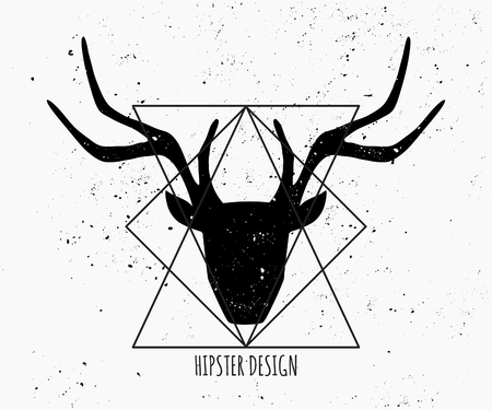 Deer head silhouette and triangle shapes in black and white. Vector