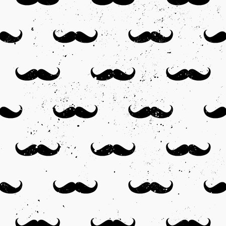 Vintage style mustaches seamless pattern. Distressed repeat pattern in black and white. Vector