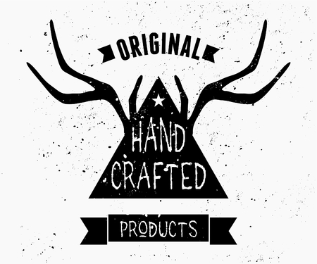 Trendy product label design in black and white. Triangle shape and antlers silhouette with hand lettered style text. Vector