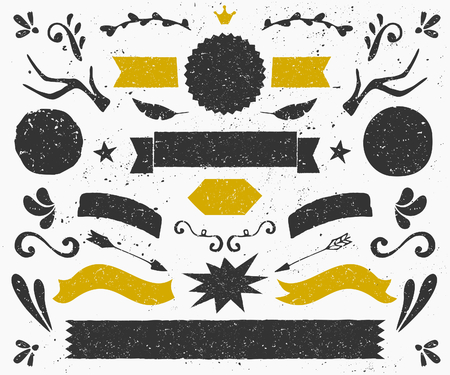 copy text: A set of vintage style design elements in dark gray and golden. Hand drawn decorative elements and embellishments. Banners, ribbons, swirls, labels and other retro style graphics. Illustration