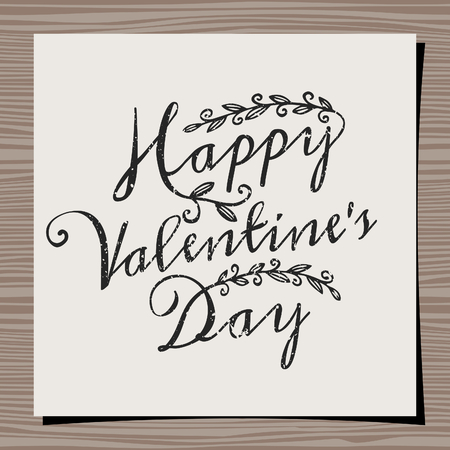 Hand-drawn typographic design template for Valentines Day. Paper note on wood background mock-up. Happy Valentines Day message. Vector