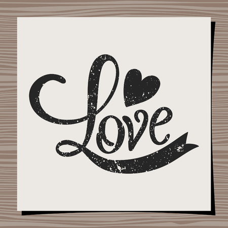 retro backgrounds: Hand-drawn typographic design template for Valentines Day. Paper note on wood background mock-up.