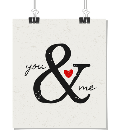 Typographic style poster for Valentines Day. Poster design mock-up with paper clips, isolated on white. Vector