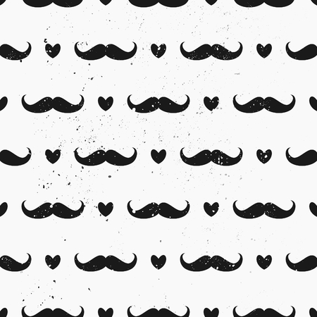 Vintage style mustaches and hearts seamless pattern. Distressed repeat pattern in black and white. Vector
