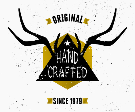 Trendy product label design in black, white and gold. Triangle shape and antlers silhouette with hand lettered style text. Vector