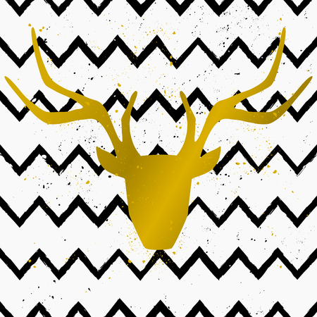 Goden deer head on a hand drawn style seamless chevron pattern. Vintage abstract repeat pattern in black and white. Vector