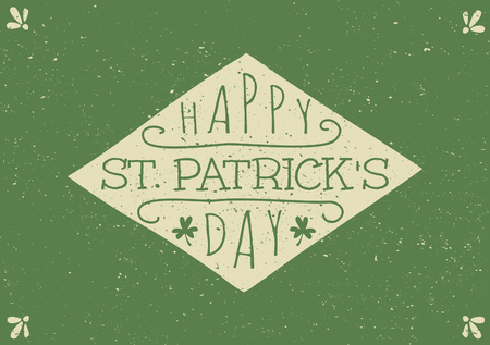Hand drawn style greeting card for St. Patricks Day in green and beige. Vector