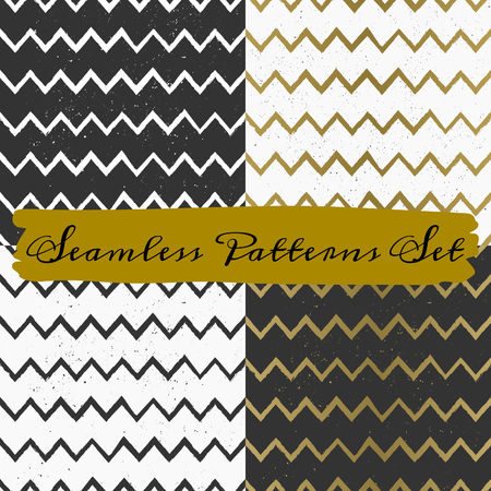 A set of hand drawn style seamless chevron patterns. Vintage abstract repeat patterns in black and white. Vector