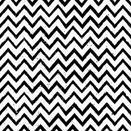 Hand drawn style chevron seamless pattern. Vintage zig zag repeat pattern in black and white.