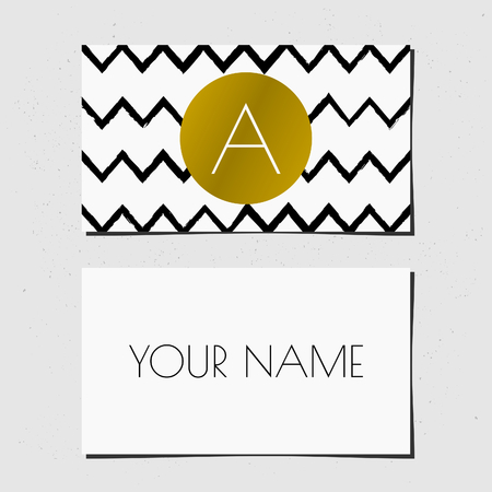 Modern business card template design. Golden circle with monogram letter on a black and white chevron background. Vector
