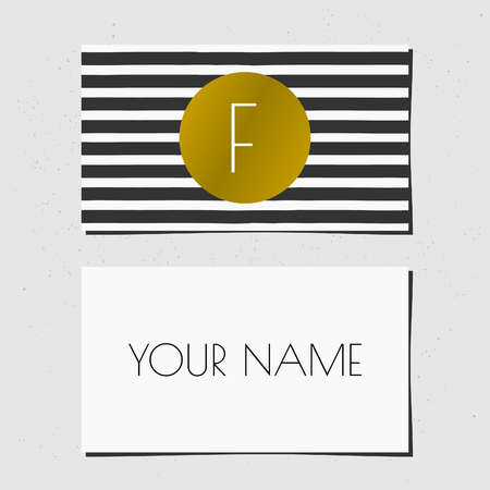 Modern business card template design. Golden circle with monogram letter on a black and white striped background. Vector