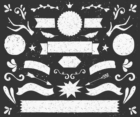 draw: A set of chalkboard style design elements. Hand drawn decorative elements and embellishments. Banners, ribbons, swirls, labels and other retro style graphics.
