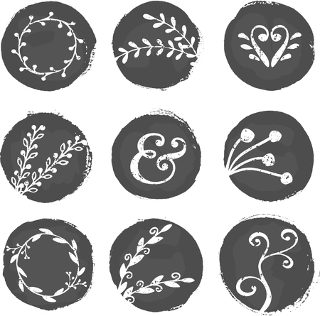 round logo: A set of 9 hand drawn chalkboard circles with decorative elements isolated on white. Illustration
