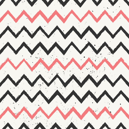 zag: Hand drawn style chevron seamless pattern. Vintage zig zag repeat pattern in black and pink.