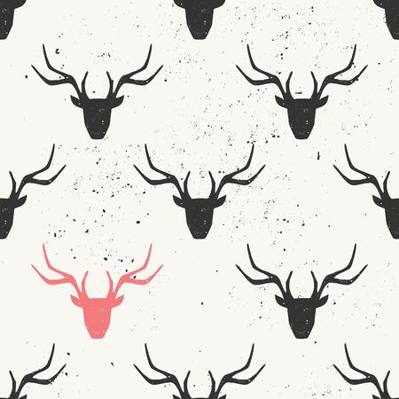 Deer head silhouette seamless pattern in black and pink.