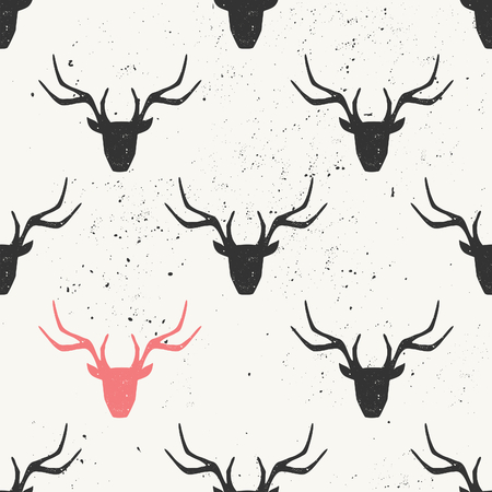 stag: Deer head silhouette seamless pattern in black and pink.