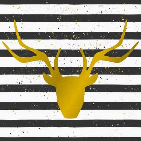 Goden deer head on a hand drawn style seamless striped pattern. Vintage abstract repeat pattern in black and white. Illustration