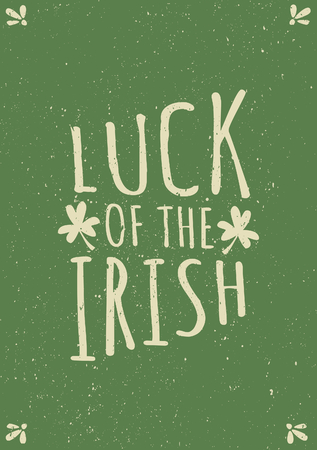 Hand drawn typographic style greeting card for St. Patricks Day in green and beige. Vector