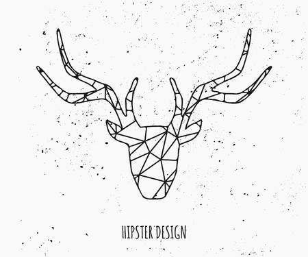 venado: Silueta estilizada cabeza de ciervo con dise�o tri�ngulos.