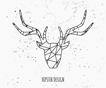 stag: Stylized deer head silhouette with triangles design.